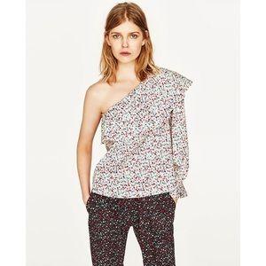 Zara Basic One Shoulder Long Sleeve Floral Shirt